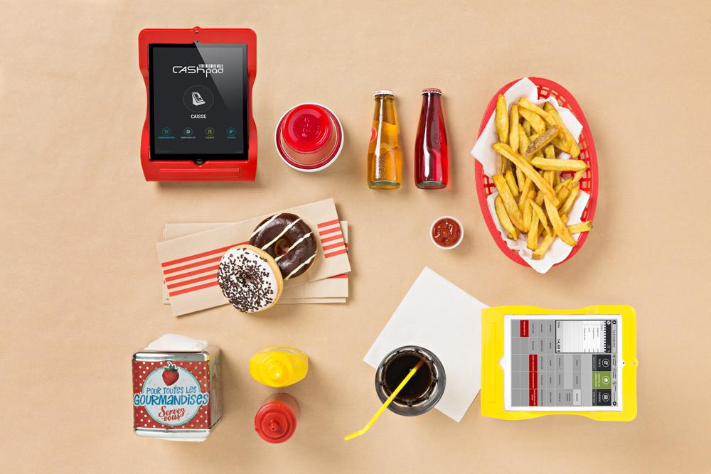 Stilleben af Cashpad betalingssystem i Fastfood & Take-away omgivelser