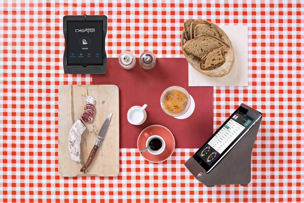 Stilleben af betalingssystem til cafe og kaffebar